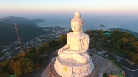 budha : White Big Buddha Statu. Popular Tuoristic Viewpoint Place. Natural Sunrise Light. HD Aerial View. Phuket, Thailand. Stock Footage