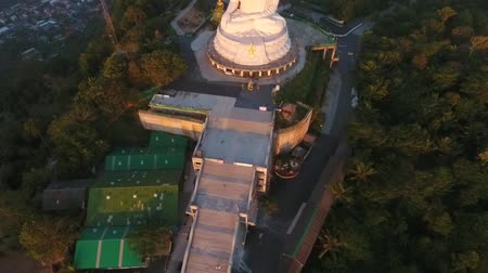 budha : Beautiful Golden Sunrise at White Big Buddha Temple. HD Aerial View. Phuket, Thailand.