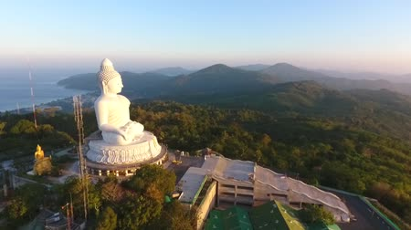 budha : Side View of Big Buddha Statue Viewpoint. HD Aerial View. Phuket, Thailand.