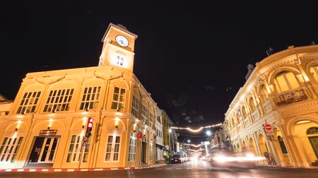 chartered : Old Clock Tower in Chino-Portuguese Style Building. Famous Tourist Destination in Phuket Town, Thailand. 4K Timelapse. 29 DEC 2017.