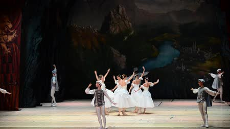 balerína : BERDYANSK, UKRAINE - OCTOBER 6, 2017: Swan Lake ballet.