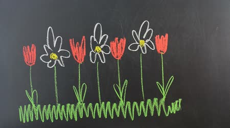 jardim : We draw flowers on a board.