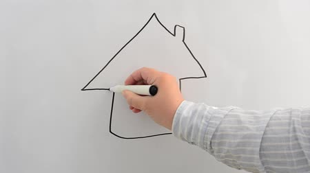 marker : We draw a house on a board.