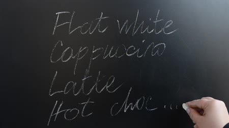 consist : We write the menu on a board with chalk. Stock Footage