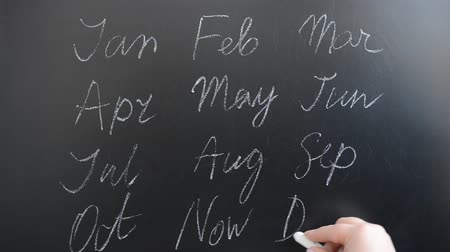calligraphic : We write the name of months on a board.