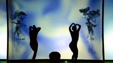grotesque : BERDYANSK, UKRAINE - OCTOBER 30: Performance by the theater of shadows in front of a backlit white screen in Berdyansk, Ukraine on October 30, 2016