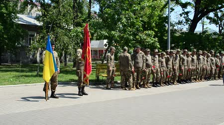 mobilization : BERDYANSK, UKRAINE - MAY 22: Adoption of the oath by marines on May 22, 2016