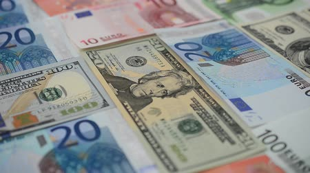 upvaluation : Notes of euro and dollars. Stock Footage