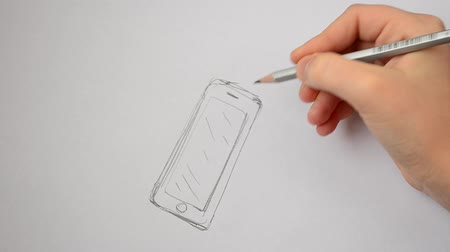 imagem digital gerada : The child draws the smartphone.