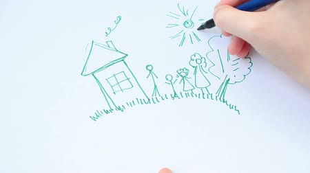 irmãs : Happy family on a lawn, the house and a tree, a grass. Stock Footage