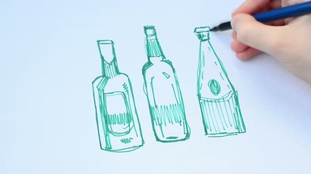 woodcut : Set of beer bottles. isolated on white. Various forms of bottles. Stock Footage