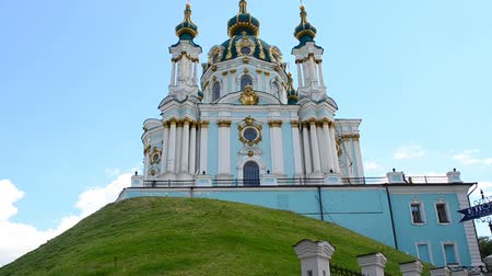 bell tower : Andreevsky church. Shooting is made in Kiev, Ukraine.