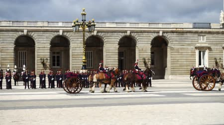 tropas : Out of focus. Slow motion. The ceremony of the Solemn Changing of the Guard at the Royal Palace of Madrid. That is famous event was performed on the first Wednesday of each month. Stock Footage