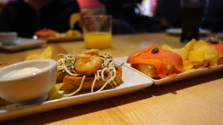substitute : The Spanish tapas with seafood. Spanish cuisine. Stock Footage