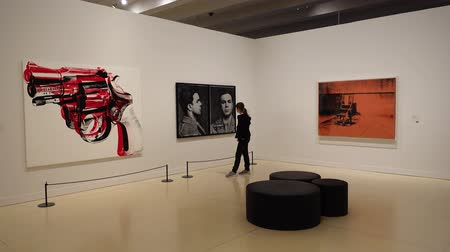 mito : MADRID, SPAIN - APRIL 05, 2018: Visitors in the CaixaForum Madrid view pictures at the exibition Andy Warhol Warhol. Mechanical Art. Vídeos