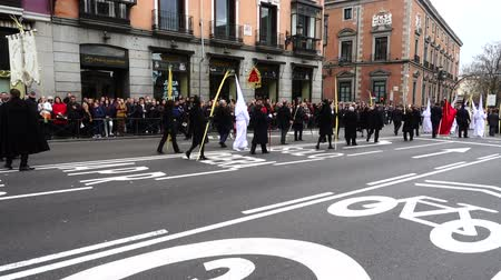 koníčky : MADRID, SPAIN - MARCH 25, 2018: The celebrations of Holy Week in Madrid, began at the Cathedral of La Almudena with the solemn Mass of the Palm Trees. Slow motion. Dostupné videozáznamy