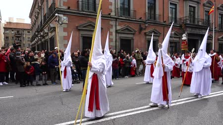 ünnepélyes : MADRID, SPAIN - MARCH 25, 2018: The celebrations of Holy Week in Madrid, began at the Cathedral of La Almudena with the solemn Mass of the Palm Trees. Slow motion. Stock mozgókép
