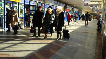 voyager : KIEV, UKRAINE - MARCH 23, 2018: Passengers at the Kiev railway station.