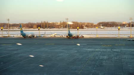 trup letadla : KIEV, UKRAINE - MARCH 23, 2018: Boryspil International Airport. The largest on volumes of transportations the airport in the territory of Ukraine.
