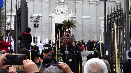 procession : MADRID, SPAIN - MARCH 25, 2018: The celebrations of the Holy Week in Madrid, began at the Cathedral of La Almudena with the solemn Mass of the Palm Trees, with the blessing of the palms and the bouquets.