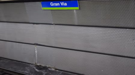 rapid transit : Metro station Gran Via. Madrid, Spain. Stock Footage