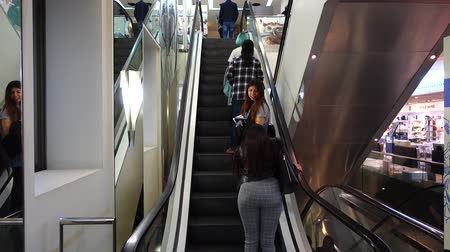 corte : MADRID, SPAIN - MARCH 27, 2018: Unknown people on the escalator in the shopping center El Corte Ingl