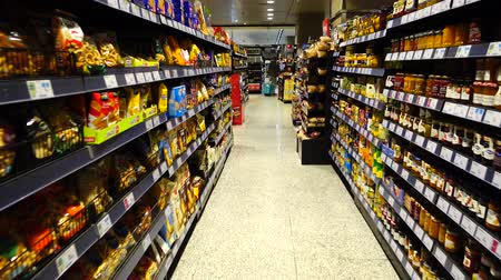perspectives : MADRID, SPAIN -APRIL 4, 2018: Food in the supermarket of the shopping center El Corte Ingl?s.