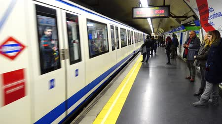 rapid transit : MADRID, SPAIN - MARCH 25, 2018: Metro stations. The Madrid subway is one of the largest in Europe.