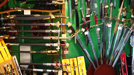 showcase : Shooting of a show-window of weapon shop. The city of Toledo has long been known for the production of knives.