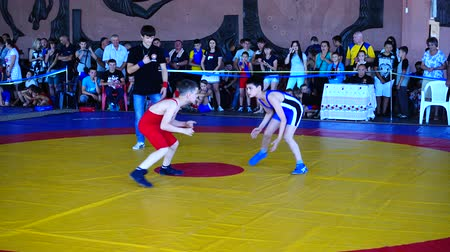 batalha : BERDYANSK, UKRAINE - JUNE 12, 2018: First open all-Ukrainian freestyle wrestling tournament in honor of the master of sports of the international class Vladimir Fedorenko. Vídeos