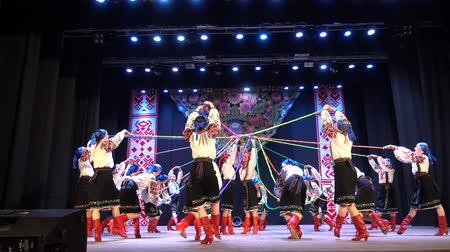 swirling : BERDYANSK, UKRAINE - APRIL 20, 2018: Ukrainian national dances.