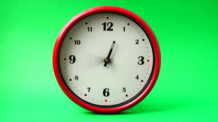 clockface : Shooting of hours. Time lapse. Shooting on a green background.