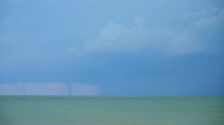 bica : Tornado and lightnings in the sky over the sea. Stock Footage