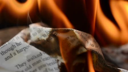 biblia : Slow Motion. The text and letter on fire. Wideo