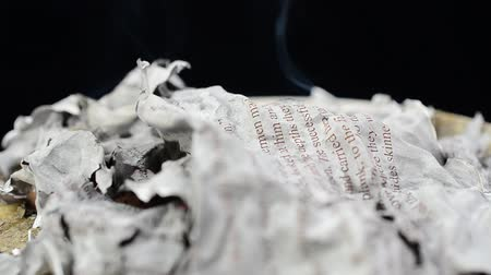 bible study : The text on paper on fire