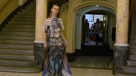 finale : LVIV, UKRAINE - AUGUST 5, 2014: Week of fashion in Lviv. Fashion designers of Zhanna Volynets and Sergey Drachev.