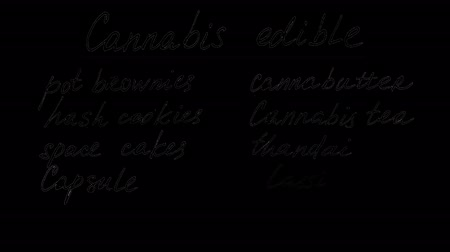 marijuana : Cannabis edible. Alpha channel included. Png + alpha. Animation on marijuana. Black font on a transparent background. You can use any your background. Stock Footage