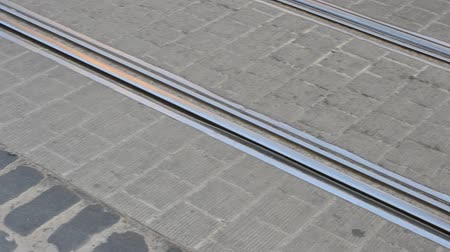paving blocks : Rails and tram Stock Footage