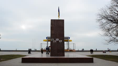lenin : BERDYANSK, UKRAINE - APRIL 5, 2015: The demolished monument to Lenin in Berdyansk (Zaporozhskasya area), Ukraine. Stock Footage