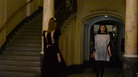 finale : LVIV, UKRAINE - JILY 5, 2014: Week of fashion in Lviv, Ukraine. Fashion designers of Zhanna Volynets and Sergey Drachev. Stock Footage