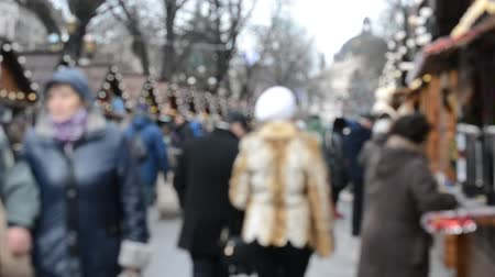 souvenirs : Festivities for Christmas. Lviv, Ukraine. Out of focus.
