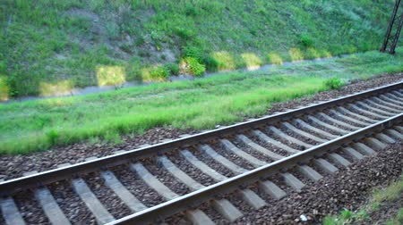 vagão : Railway track. Shooting in the movement.