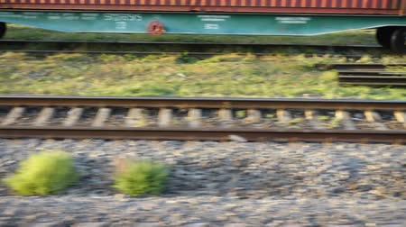 disposição : Cargo carriage of the railway train. Shooting in the movement. Stock Footage