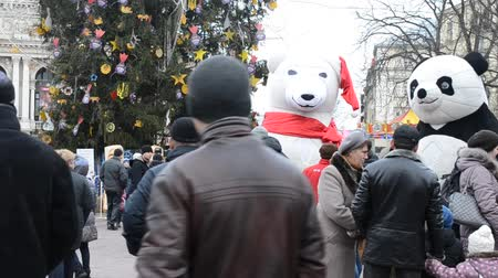 street market : LVIV, UKRAINE - DECEMBER 10, 2015: Celebration of Christmas.