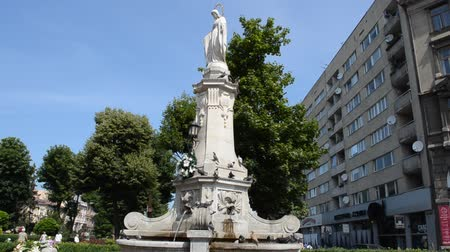 saint mary : Statue of the Virgin Mary in Lviv, Ukraine. Lviv - Capital of Galicia Lviv historic city center.
