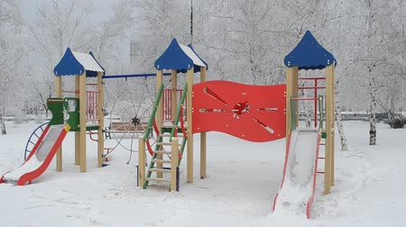 toboggan : Children playground during winter