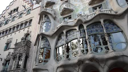 spanish style : Casa Batllo, Barcelona. Architect Gaudi. Stock Footage