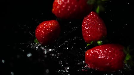 black berry : Falling of strawberry. Slow motion.