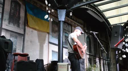 concert crowd : LVIV, UKRAINE - JULY 5, 2014: The scene and the musician, sings songs.