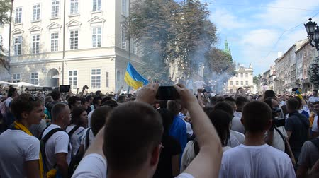 hatred : LVIV, UKRAINE - JULY 22, 2014: Fans of soccer Stock Footage
